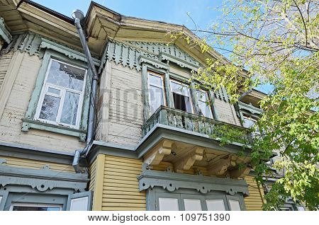 The Wooden Two-storey House With Balcony On Irkutsk Street