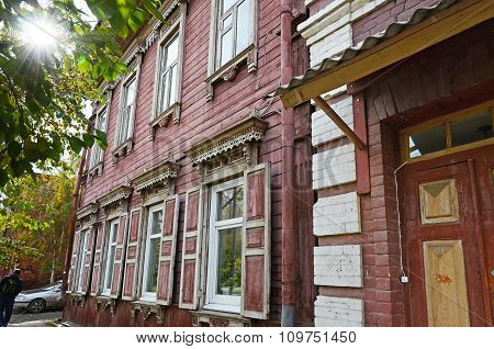 Two-storey Wooden House With Window Shutters On Irkutsk Street