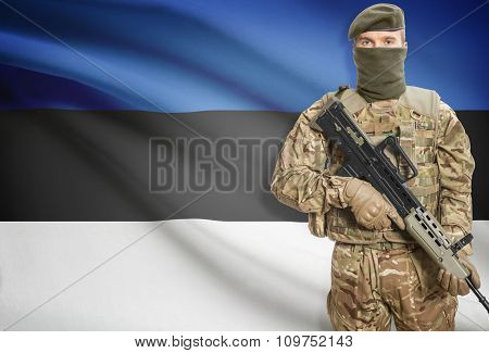Soldier Holding Machine Gun With Flag On Background Series - Estonia