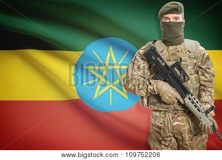 Soldier Holding Machine Gun With Flag On Background Series - Ethiopia
