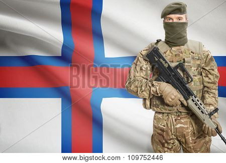 Soldier Holding Machine Gun With Flag On Background Series - Faroe Islands