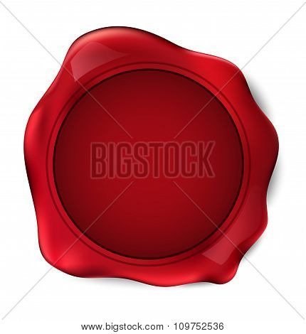 Red Wax Seal Stamp. Vector Illustration.