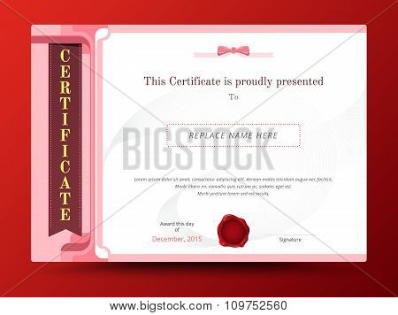 Sweet Diploma Certificate Template Design With International Print Scale. Vector Illustration.