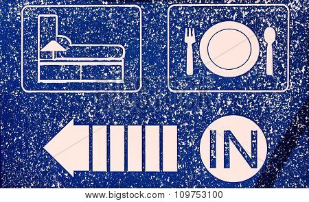 Hotel Icons Set In Old Blue Background