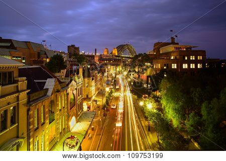 Sydney,The Rocks Historic District In The City View From Top On George Street Illuminated Houses And