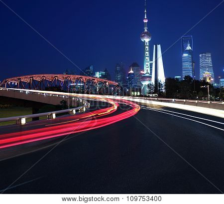 Empty Road Surface With Shanghai Lujiazui City Buildings Night