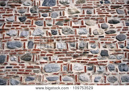 Old Brick And Stone Wall.