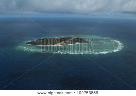 Lady Elliot Island, on the southern Great Barrier Reef, from the sky