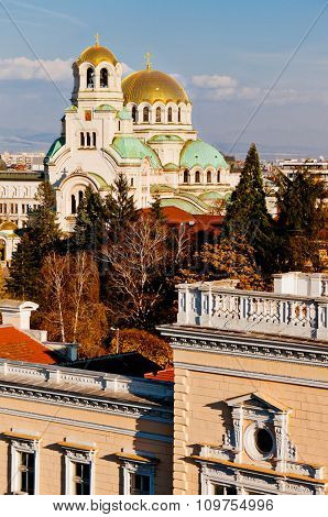 A view of golden domes st. Aleksander Nevski cathedral in Sofia, Bulgaria.