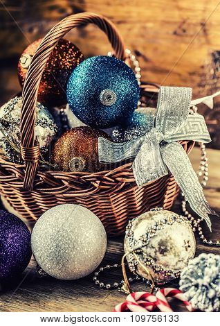 Christmas decoration. Christmas balls, stars, jingle bells xmas ornaments. Decoration bau