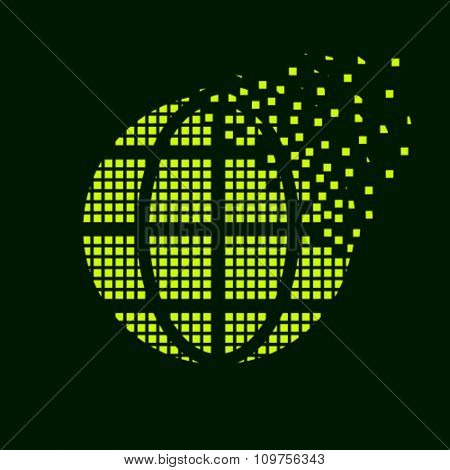 vector green globe flying pixel symbol