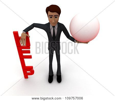 3D Man Presenting Help Text , And A Sphere In Hands Concept
