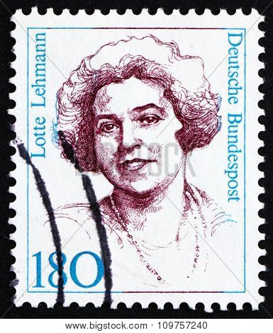 Postage Stamp Germany 1989 Lotte Lehmann, Soprano