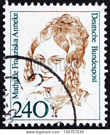 Postage Stamp Germany 1988 Mathilde Franziska Anneke, American Author