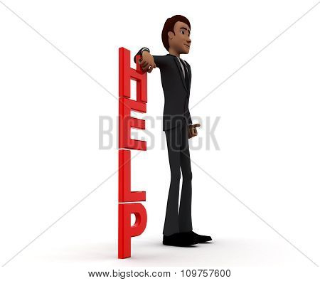 3D Man Presenting Help Text Concept
