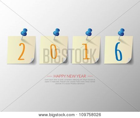2016 Happy New Year Pin Board Background.vector.