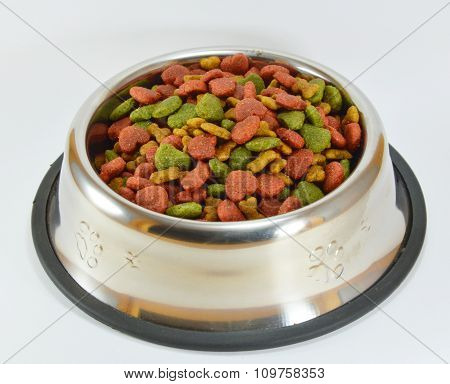 instant dog food in stainless bowl