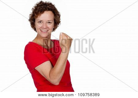 Smiling woman cheering