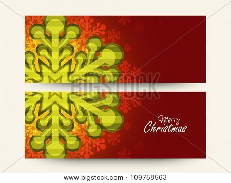 Creative website header or banner set with beautiful snowflakes for Merry Christmas celebration.