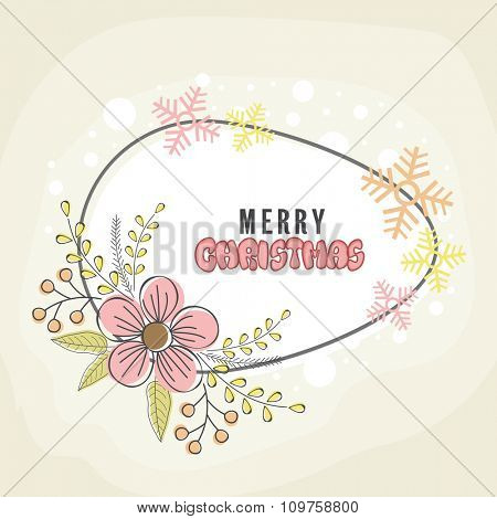 Colorful Snowflakes and flowers decorated greeting card for Merry Christmas celebration.