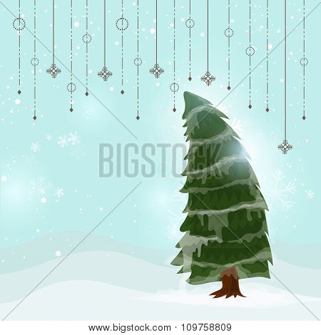 Glossy creative Xmas Tree on hanging snowflakes decorated winter background for Merry Christmas celebration.