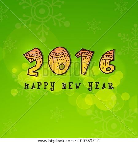 Stylish glossy text 2016 on Snowflakes decorated shiny green background for Happy New Year celebration.