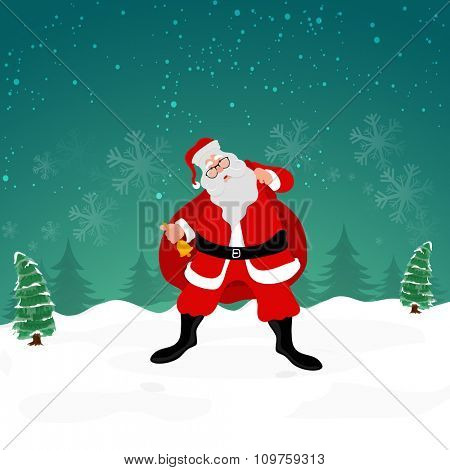 Cute Santa Claus holding a heavy gift sack and ringing a Jingle Bell on snowflakes decorated winter night background.