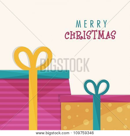 Elegant greeting card design with creative wrapped gifts for Merry Christmas celebration.