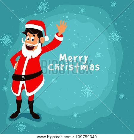 Cute smiling Santa Claus waving hand on snowflakes decorated background for Merry Christmas celebration.