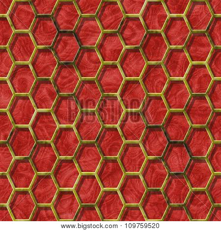 Abstract decorative grille - red pattern