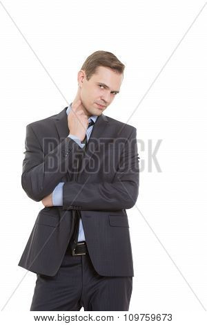 body language. man in business suit isolated on white background. gesture lie or doubt. touching the