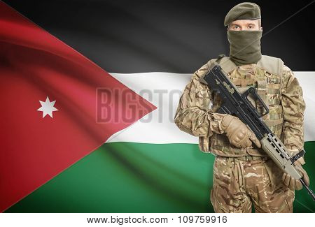 Soldier Holding Machine Gun With Flag On Background Series - Jordan