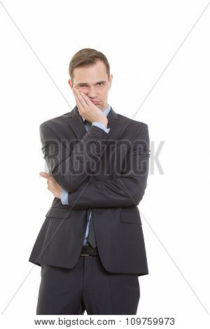 body language. man in business suit isolated on white background. Propping palm cheeks and chin. a g
