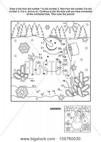 Dot-to-dot and coloring page - snowman
