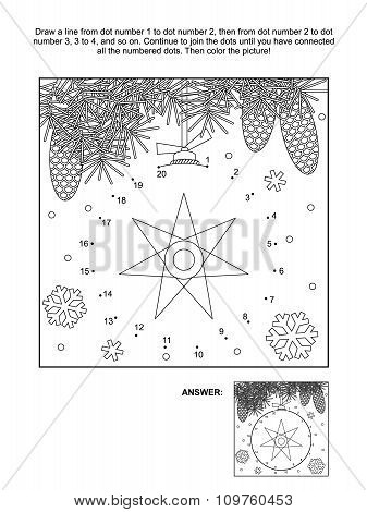 Dot-to-dot and coloring page - christmas ornament