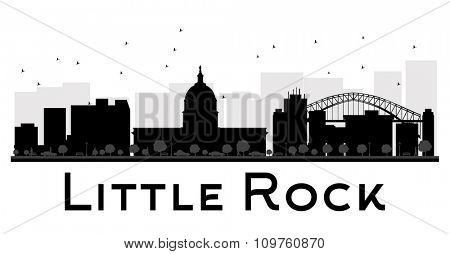 Little Rock City skyline black and white silhouette. Vector illustration. Simple flat concept for tourism presentation, banner, placard or web site. Business travel concept. Cityscape with landmarks