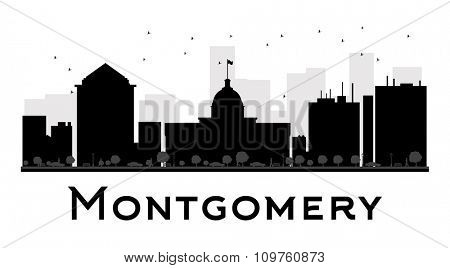 Montgomery City skyline black and white silhouette. Vector illustration. Simple flat concept for tourism presentation, banner, placard or web site. Business travel concept. Cityscape with landmarks