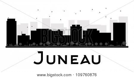 Juneau City skyline black and white silhouette. Vector illustration. Simple flat concept for tourism presentation, banner, placard or web site. Business travel concept. Cityscape with famous landmarks