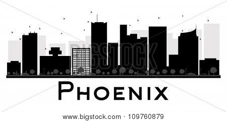 Phoenix City skyline black and white silhouette. Vector illustration. Simple flat concept for tourism presentation, banner, placard or web site. Business travel concept. Cityscape with landmarks