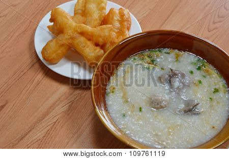 rice porridge and deep-fried dough stick