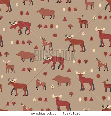 forest animals pattern, brown orange