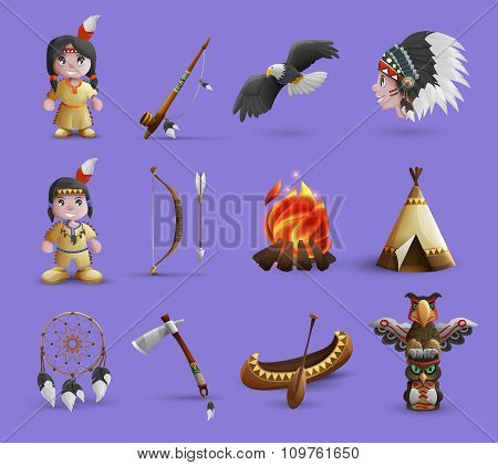 Native American Cartoon  Icons