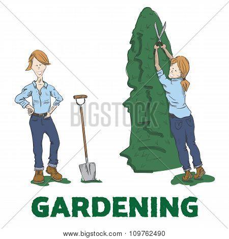 Gardening. Young woman