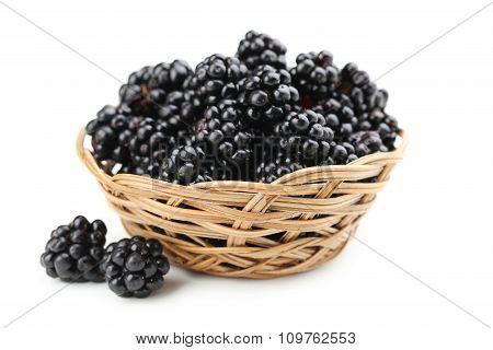Beautiful Ripe Blackberry In Basket On White Background