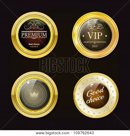 Glossy and gold labels . Colored stones set in gold. Brown stone