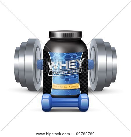 Sport Nutrition Containers And Sumbbells