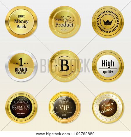 Collection gold labels for promo seals. Can be use for website,