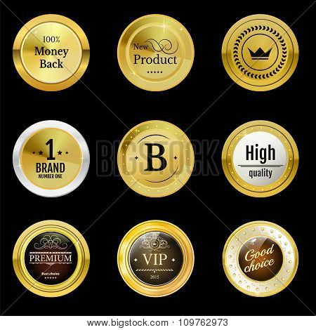 Collection gold labels for promo seals. Can be use for website
