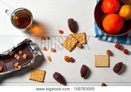 Top view of healthy breakfast on white wooden table