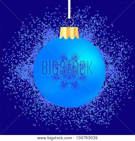 Glass Ball on Blue Confetti Background